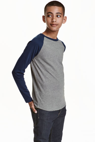 Long-sleeved T-shirt - Dark grey - Kids | H&M CN 1