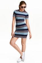 Ribbed jersey dress - Blue/Wide striped - Ladies | H&M CN 1