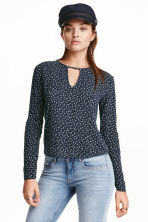 Long-sleeved blouse - Dark blue/Hearts - Ladies | H&M CN 1
