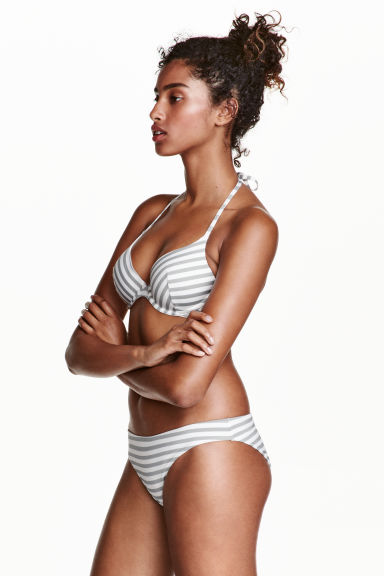 Bikini bottoms - White/Grey striped - Ladies | H&M CN 1