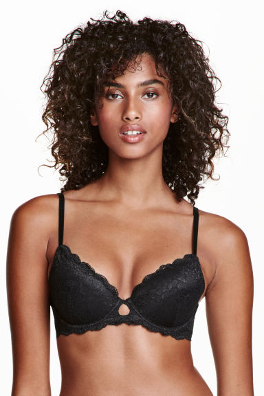 Reggiseno push-up in pizzo - Nero - DONNA | H&M IT 1
