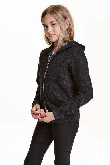 Hooded jacket - Black marl - Kids | H&M CN 1