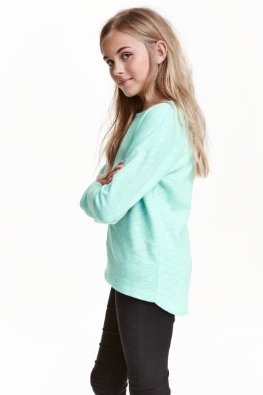 Sweatshirt - Mint green marl - Kids | H&M CN 1