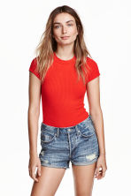 Ribbed body - Red - Ladies | H&M CN 1