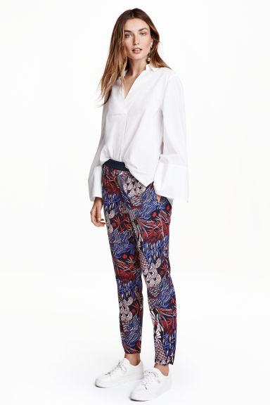 Crêpe trousers - Dark blue/Patterned - Ladies | H&M CN 1