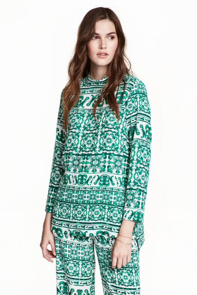 Blouse with a stand-up collar - White/Green patterned - Ladies | H&M CN 1