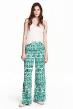 Wide trousers - White/Green patterned - Ladies | H&M CN 1