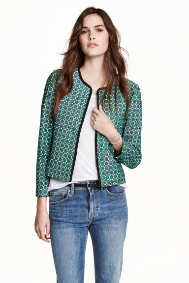 Jacket with a textured pattern - Green/White - Ladies | H&M CN 1