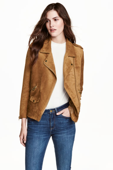 Imitation suede biker jacket - Dark camel - Ladies | H&M CA 1