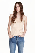 Satin strappy top - Light beige - Ladies | H&M CN 1