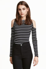 Ribbed cold shoulder top - Black/White/Striped - Ladies | H&M CN 1