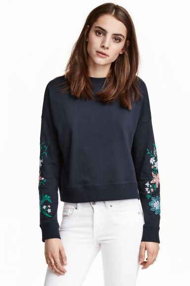 Sweater met print - Donkerblauw - DAMES | H&M BE