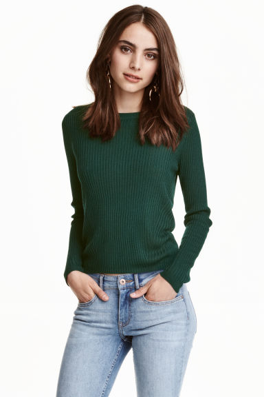 Rib-knit jumper - Emerald green - Ladies | H&M CN 1