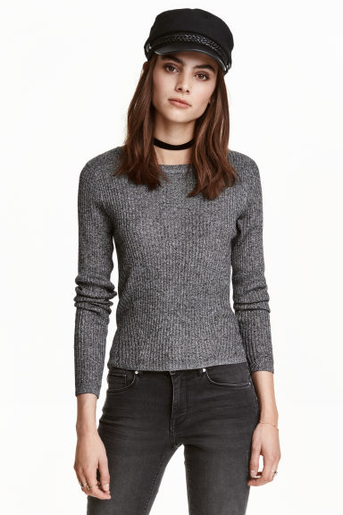 Rib-knit jumper - Black marl - Ladies | H&M CN 1