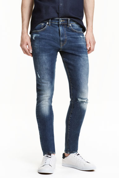 Super Skinny Low Ripped Jeans - Dark denim blue - Men | H&M CN 1
