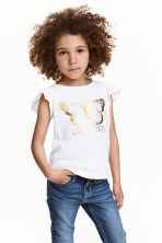 Printed top - White/Butterfly - Kids | H&M CN 1