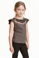Printed top - Dark mole/Feathers - Kids | H&M CN 1