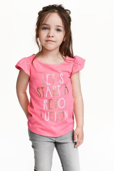 Printed top - Dark pink - Kids | H&M CN 1