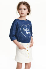 Fine-knit printed jumper - Dark blue marl - Kids | H&M CN 1