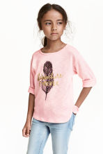 Fine-knit printed jumper - Light pink/Feather - Kids | H&M CN 1