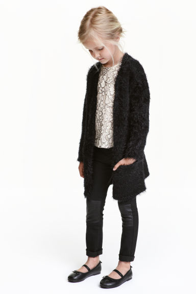 Fluffy cardigan - Black -  | H&M CN 1