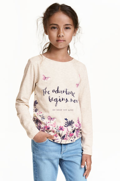 Printed jersey top - Light beige/Butterflies - Kids | H&M CN