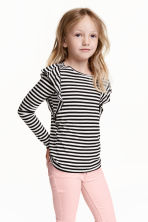 Frilled top - Black/White/Striped - Kids | H&M CN 1