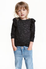 Frilled top - Black marl - Kids | H&M CN 1