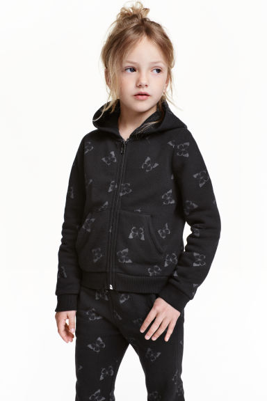 Hooded jacket - Black/Butterfly - Kids | H&M CN 1
