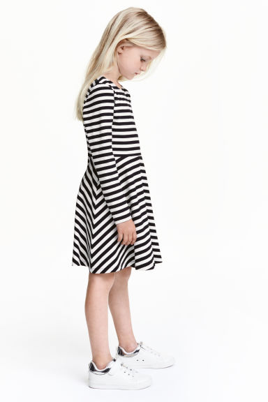 Jersey dress - Black/White/Striped -  | H&M CN 1