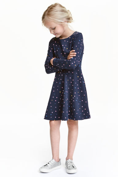 Jersey dress - Dark blue/Stars - Kids | H&M CN 1