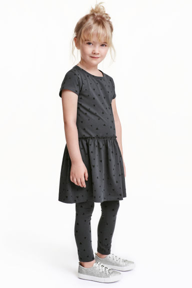 Jersey leggings - Dark grey/Hearts - Kids | H&M CN 1