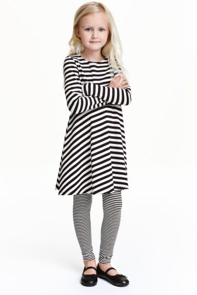 Jersey leggings - Black/White/Striped - Kids | H&M CN 1
