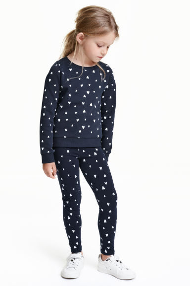 Jersey leggings - Dark blue/Hearts - Kids | H&M CN 1
