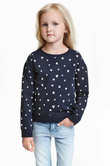 Printed sweatshirt - 深蓝色/心形 - Kids | H&M CN 1