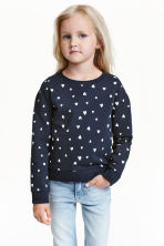 Printed sweatshirt - Dark blue/Heart - Kids | H&M CN 1
