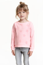 Printed sweatshirt - Light pink/Stars - Kids | H&M CN 1