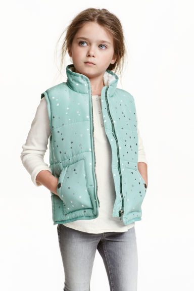 Padded gilet - Mint green/Heart - Kids | H&M CN 1
