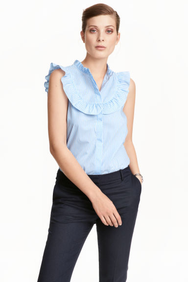 Sleeveless blouse - Light blue/Striped - Ladies | H&M CN 1