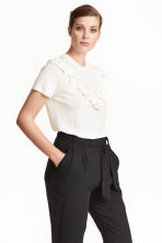 Frilled top - White - Ladies | H&M CN 1