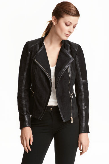 Imitation suede jacket - Black - Ladies | H&M CN 1