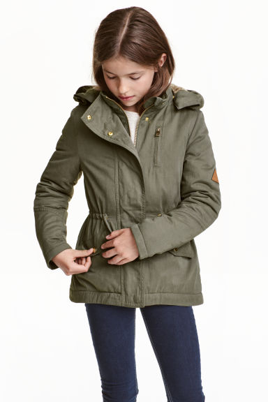 Parka with faux fur lining - Khaki green - Kids | H&M CN 1