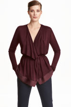 Draped cardigan - Burgundy - Ladies | H&M CN 1