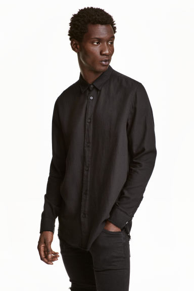 Flannel shirt with raw edges - Black - Men | H&M GB 1