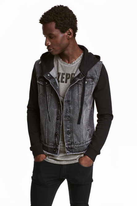 Denim jacket with a hood