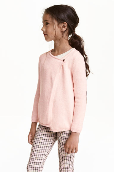 Wrapover cardigan - Light pink marl - Kids | H&M CN