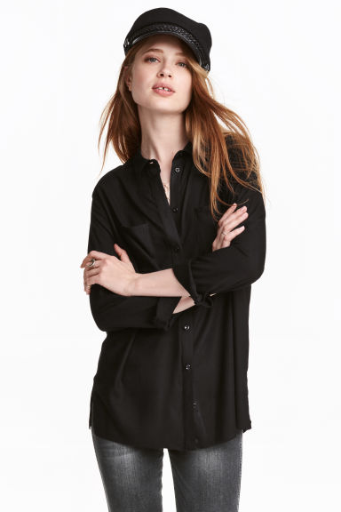 Viscose shirt - Black - Ladies | H&M GB 1