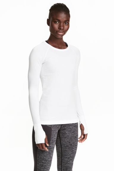 Seamless sports top - White - Ladies | H&M CN 1