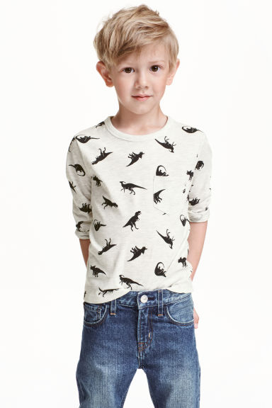 Long-sleeved T-shirt - Light beige/Dinosaurs - Kids | H&M CN 1