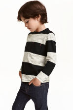 Long-sleeved T-shirt - Black/Striped - Kids | H&M CN 1